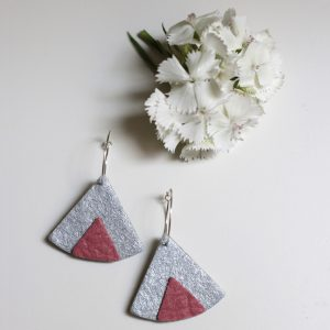 ethnic piñatex earrings silver pink for all the committed women