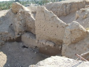 The remaining part of the wall of Jericho that people think may have been Rahab's house.