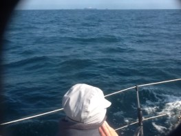 This is Vic viewing the Casquets from the north, the tide was against us here so they took a long time to pass.