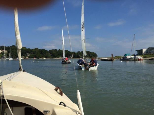 Being towed out of Wootton Creek.