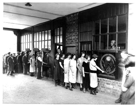 Women clocking in, IBM archives