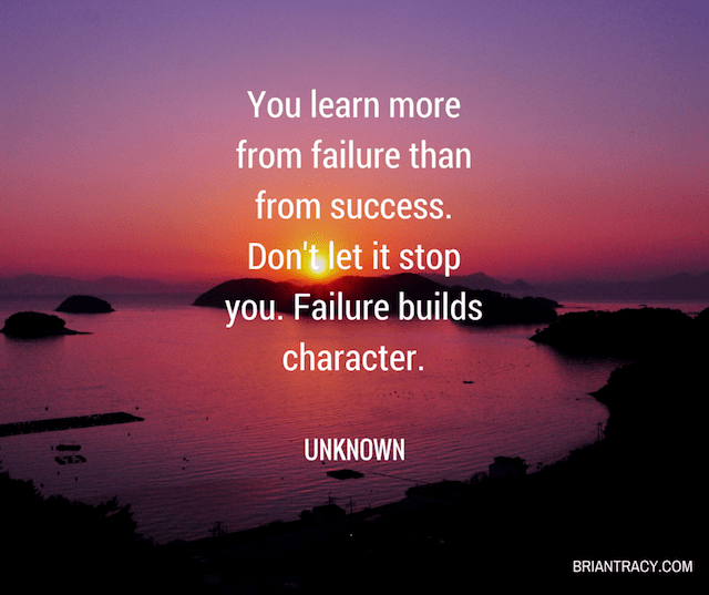 sunrise with motivational success quote about learning from failure