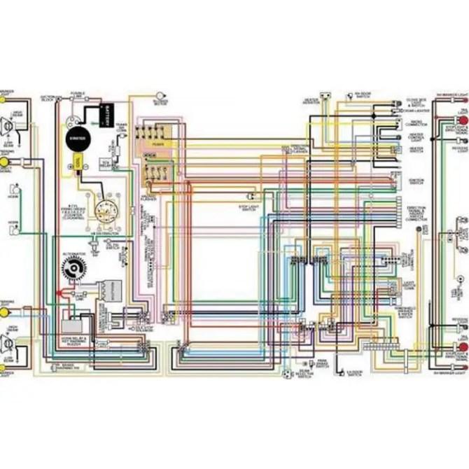 chevelle  malibu color laminated wiring diagram 19641975