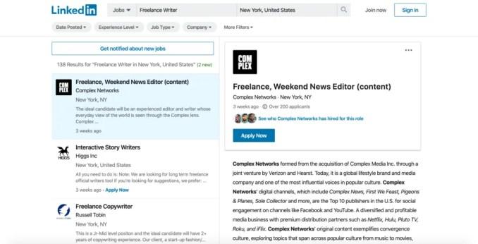 Freelance writer job listing on LinkedIn.