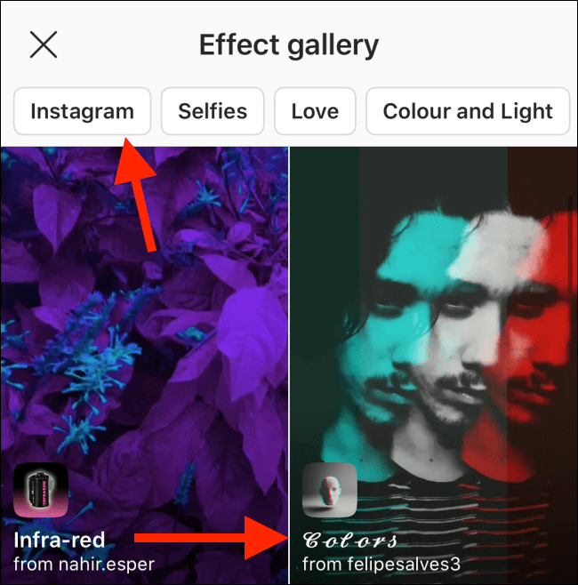 """Tap an Effect in the """"Effects Gallery."""""""