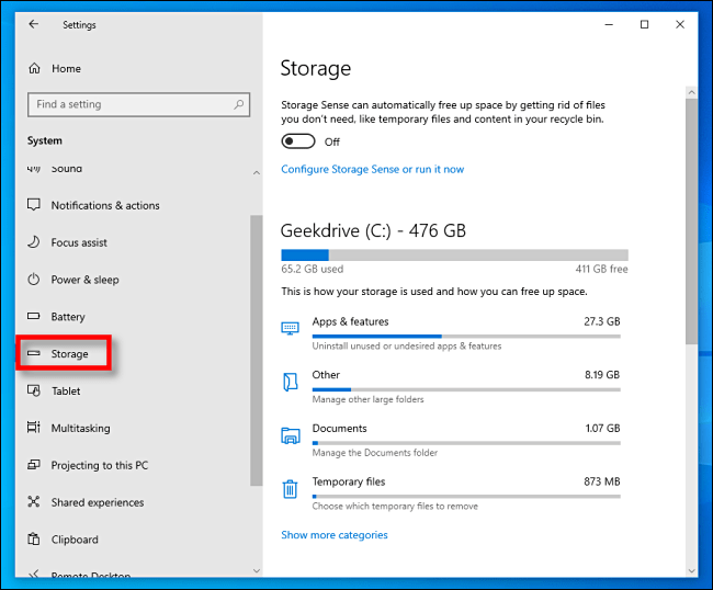 Click Storage in Windows 10 Settings