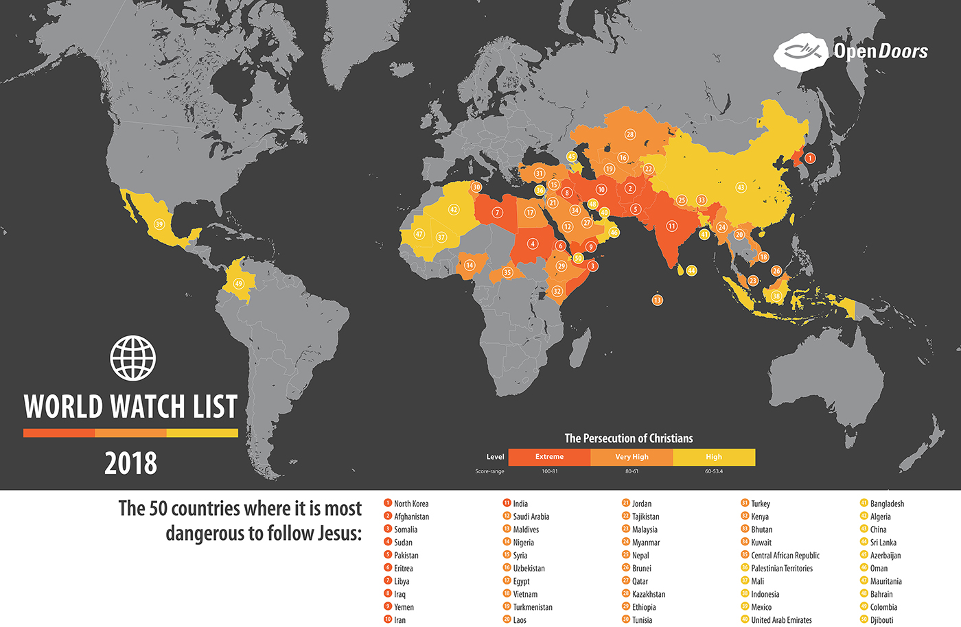 The Top 50 Countries Where It s Most Dangerous to Follow J     The Top 50 Countries Where It s Most Dangerous to Follow Jesus