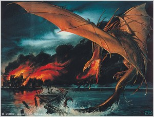 Smaug Destroys Lake-town by John Howe.