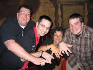 All Four Founders wearing their One Rings