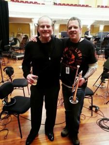 Conrad Pope and Jon Dante celebrate the conclusion of recording in Wellington for DOS.