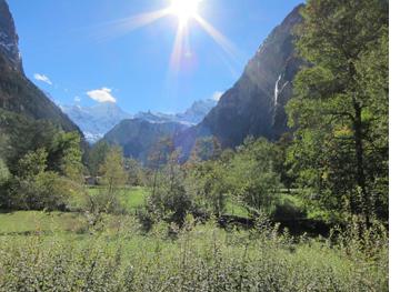 Lautenbrun waterfall with Eiger Monch & Jungfrau