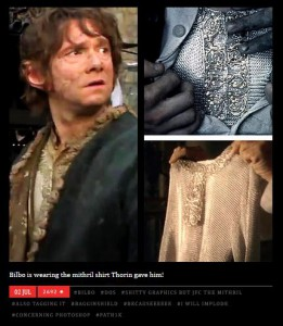 Bilbo's mithril shirt. Image source: Dwimmerlaiks tumblr. Video source: Hobbit Production Blog #11 at 1 minute and 55 seconds.