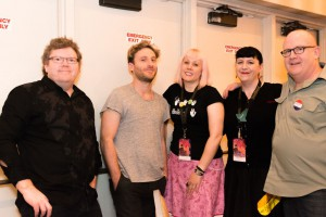 Staffers greendragon and deej backstage at An Evening at Bree, with Stephen Hunter, Dean O'Gorman and Peter Hambleton