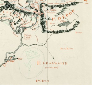 Corner of Blackwell's Tolkien map
