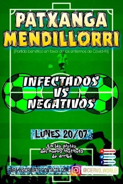 """El afiche de promoción del polémico partido de fútbol entre """"infectados vs. negativos"""" en Pamplona."""
