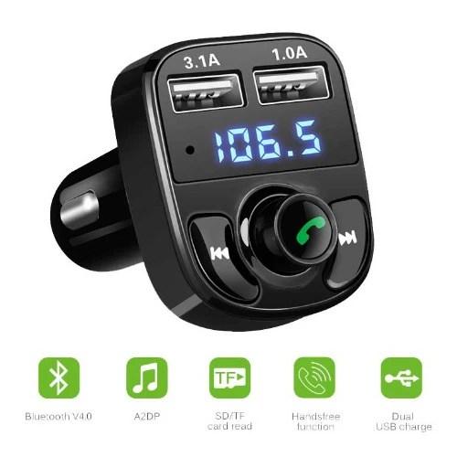 Car Bluetooth Handsfree Phone FM Transmitter Car MP3 Card Dual USB Car Charger