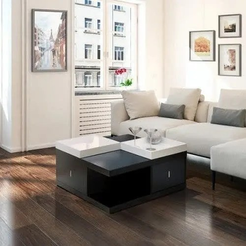 coffee table with serving trays black