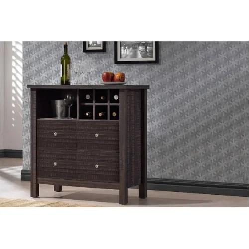 Handys Dakota Dark Espresso Brown Wood Wine Bar Cabinet