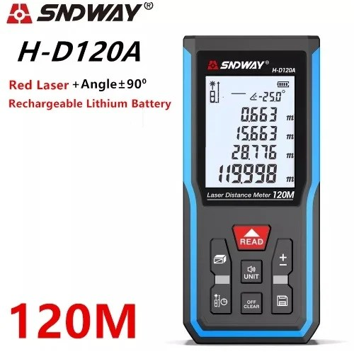 Laser Distance Meter 120m With Rechargeable Battery
