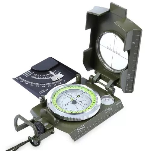 Multifunctional Pocket Prismatic Luminous Compass – Army Green