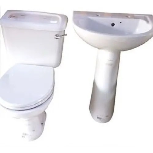 toilet seat tank basin and pedestal side handle flush