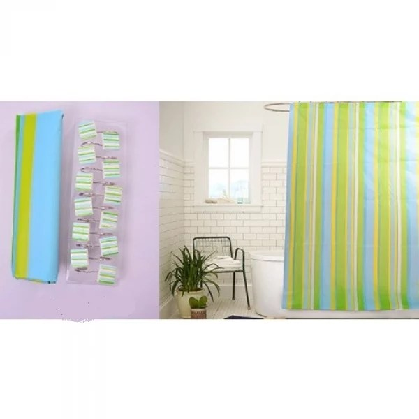shower curtain and 12 hook sets stripe