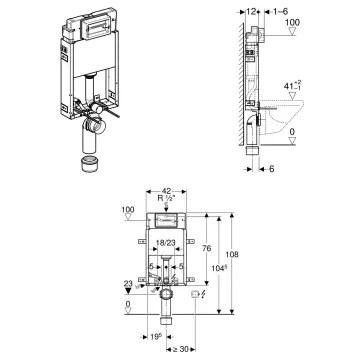 Geberit Kombifix Element Wand Wc 108 Cm Delta Up Spulkasten 110 100 00 1 Megabad