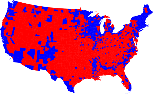 A stark county-by-county map of election returns for 2008. Notice something about rural areas?