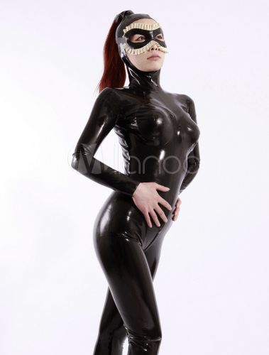 sexy black open face women s latex catsuit with eye covers