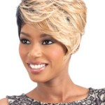 AF-S2-668991 Short Hair Wigs Light Apricot Tousled Synthetic Wigs With Side Bangs