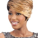 AF-S2-669799 Tan Hair Wigs Short Tousled Synthetic Wigs With Side Bangs