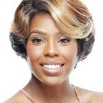 AF-S2-668997 Short Hair Wigs Women's Tan Side Parting Curly Synthetic Wigs