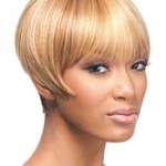 AF-S2-668367 Women's Short Wigs Blond Boycut Synthetic Hair Wigs With Bangs