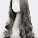 AF-S2-614001 Gray Side-swept Bangs Long Curly Wigs