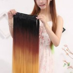 AF-S2-614017 Women's Hair Extensions Long Straight Wigs Three-color Wigs In Heat-resistant Fiber