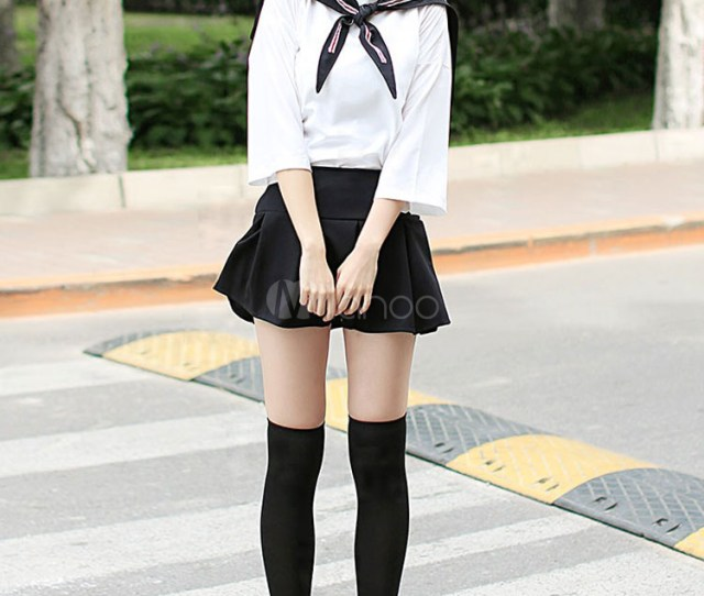 Sweet School Girl Cosplay Costume Sailor Suit Japanese School Uniform Halloween No 1