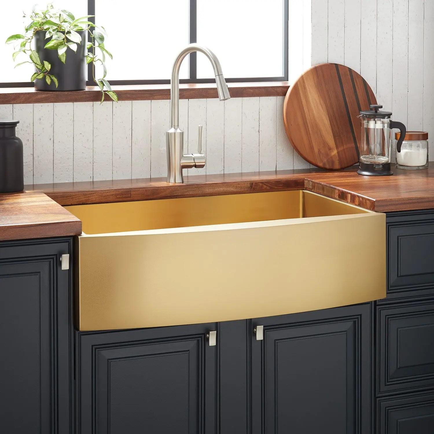 30 atlas stainless steel farmhouse sink curved apron matte gold