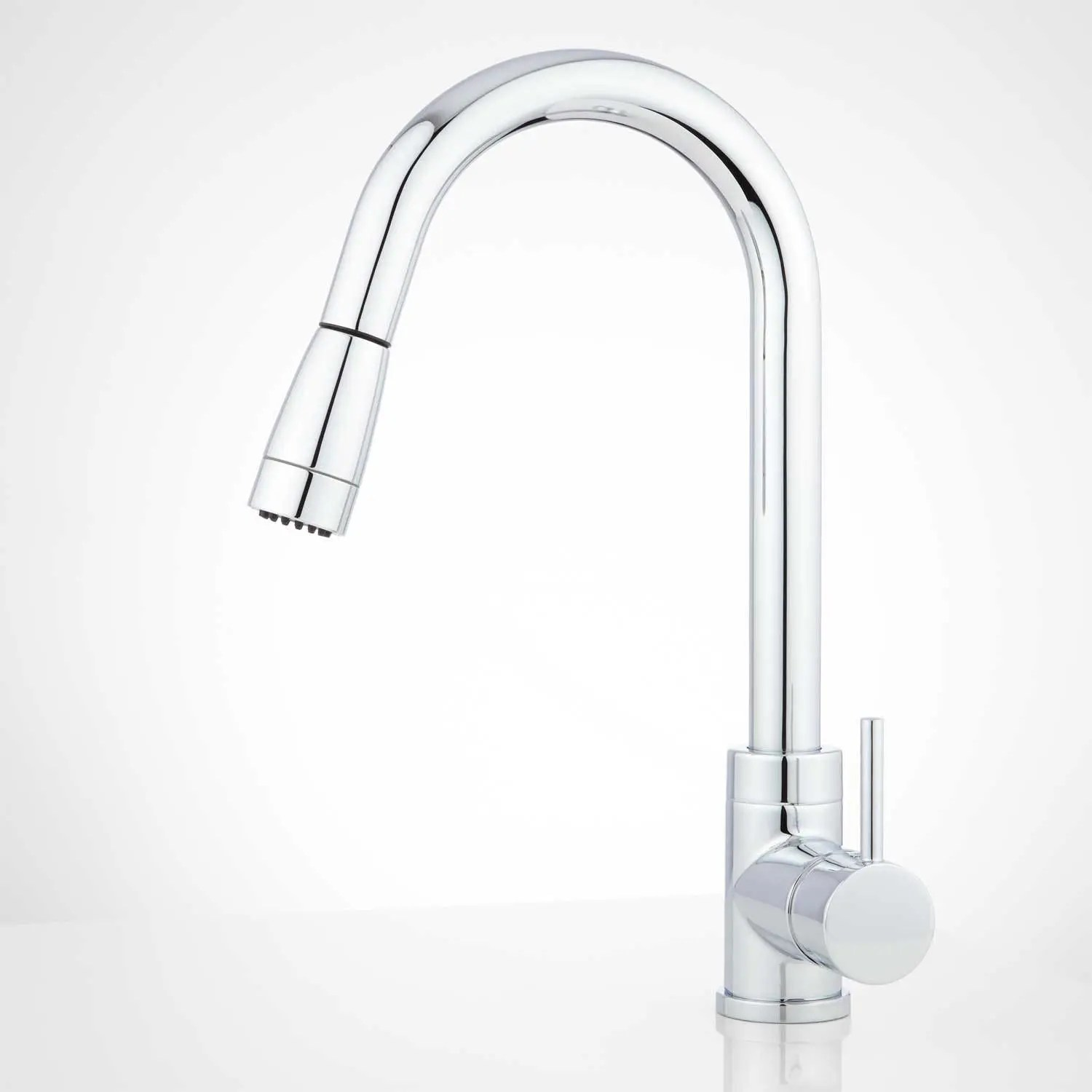 finite single hole kitchen faucet with swivel spout and pull down spray