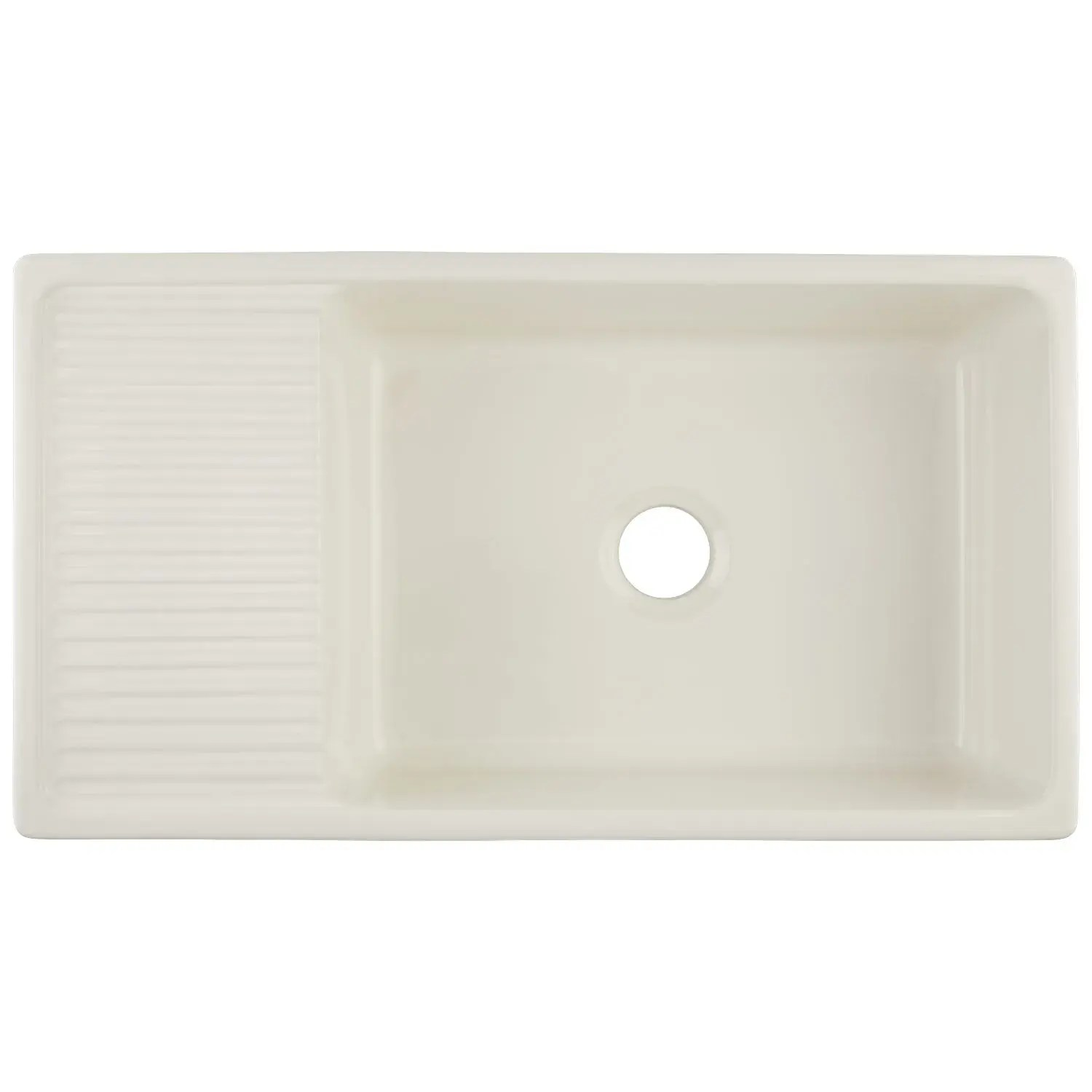 36 gallo fireclay farmhouse sink with drainboard biscuit