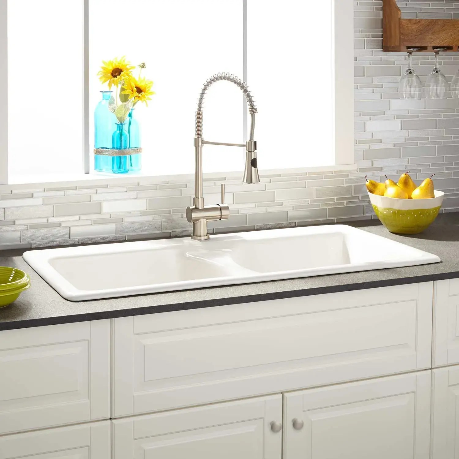 43 selkirk double bowl cast iron drop in kitchen sink white
