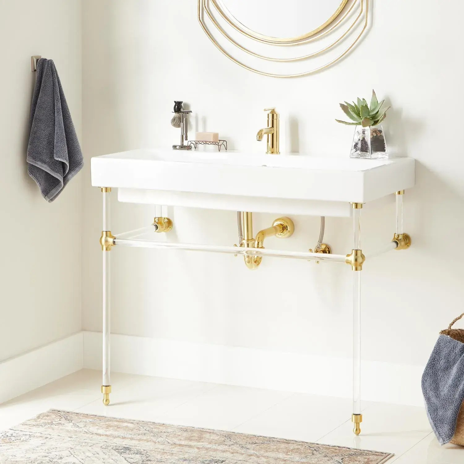 39 stoddert porcelain console sink with acrylic stand