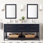 72 Robertson Double Console Vanity For Rectangular Undermount Sinks Midnight Navy Blue Bathroom