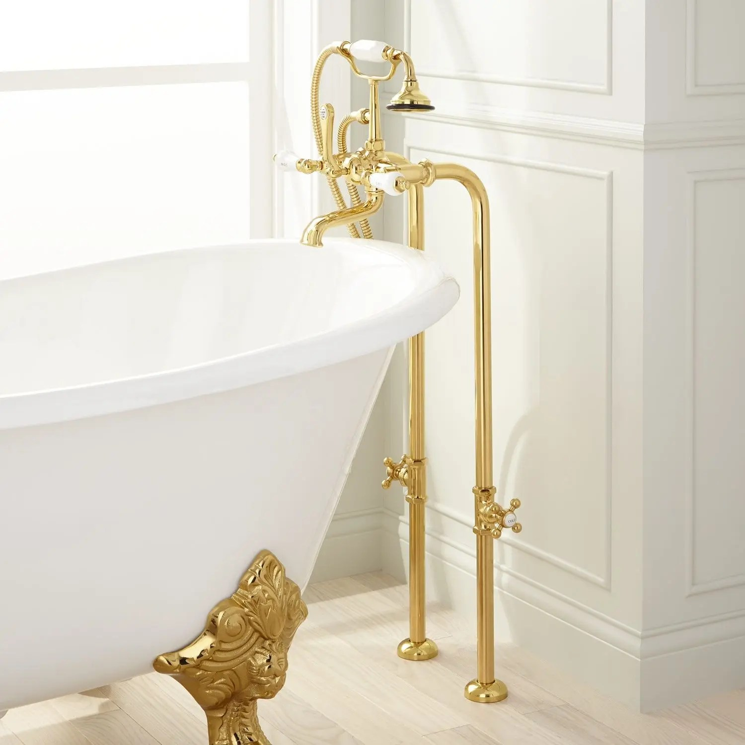 freestanding telephone tub faucet supplies and valves porcelain lever handles