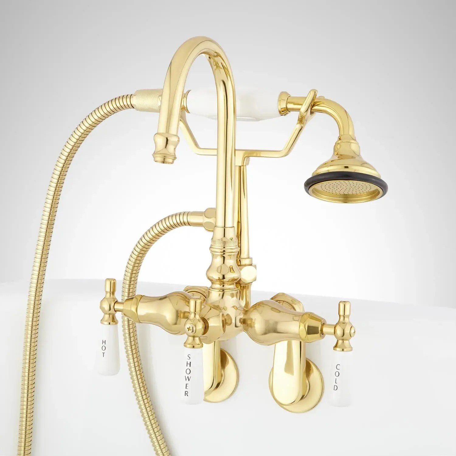 gooseneck tub wall mount faucet and hand shower