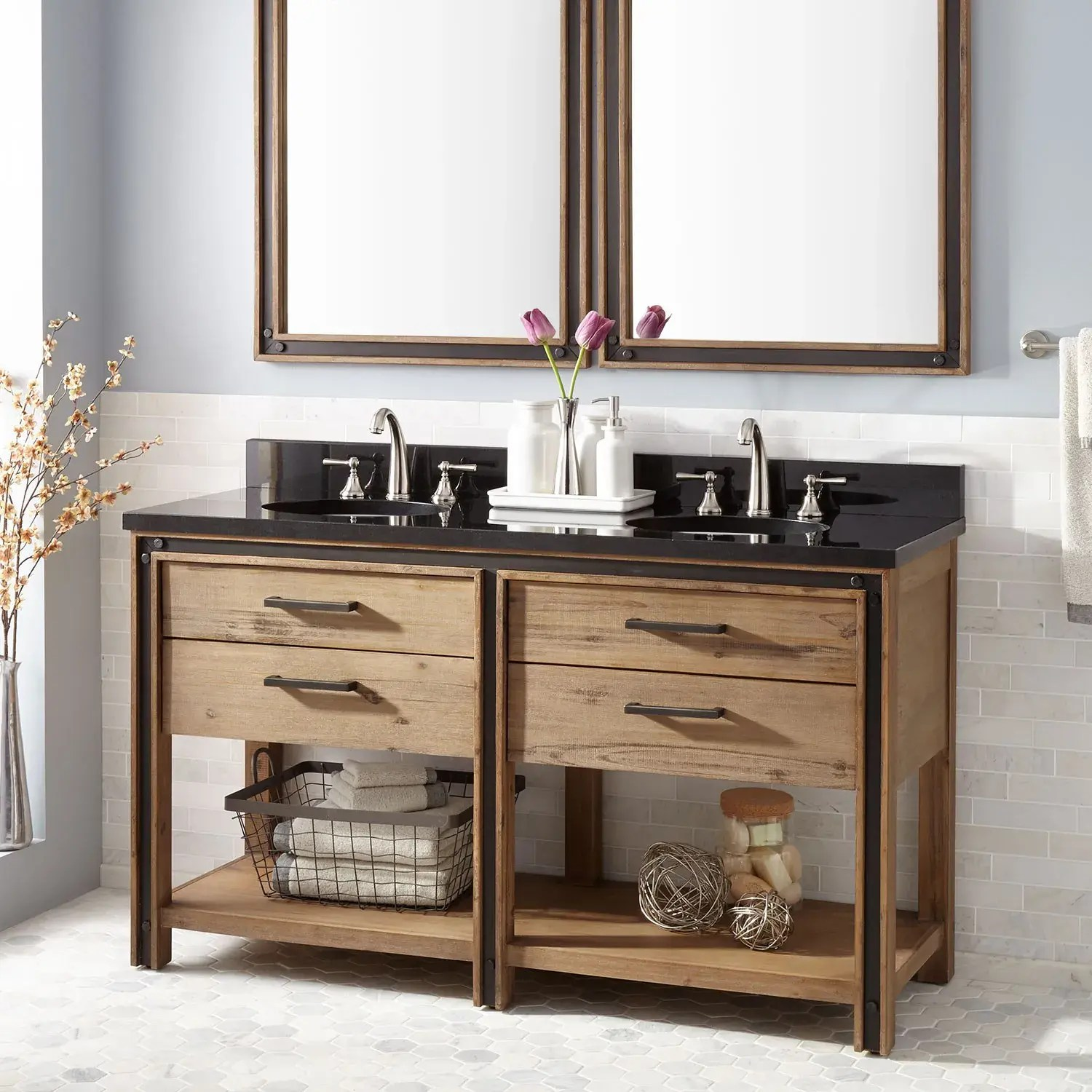60 celebration console double vanity for undermount sinks rustic acacia