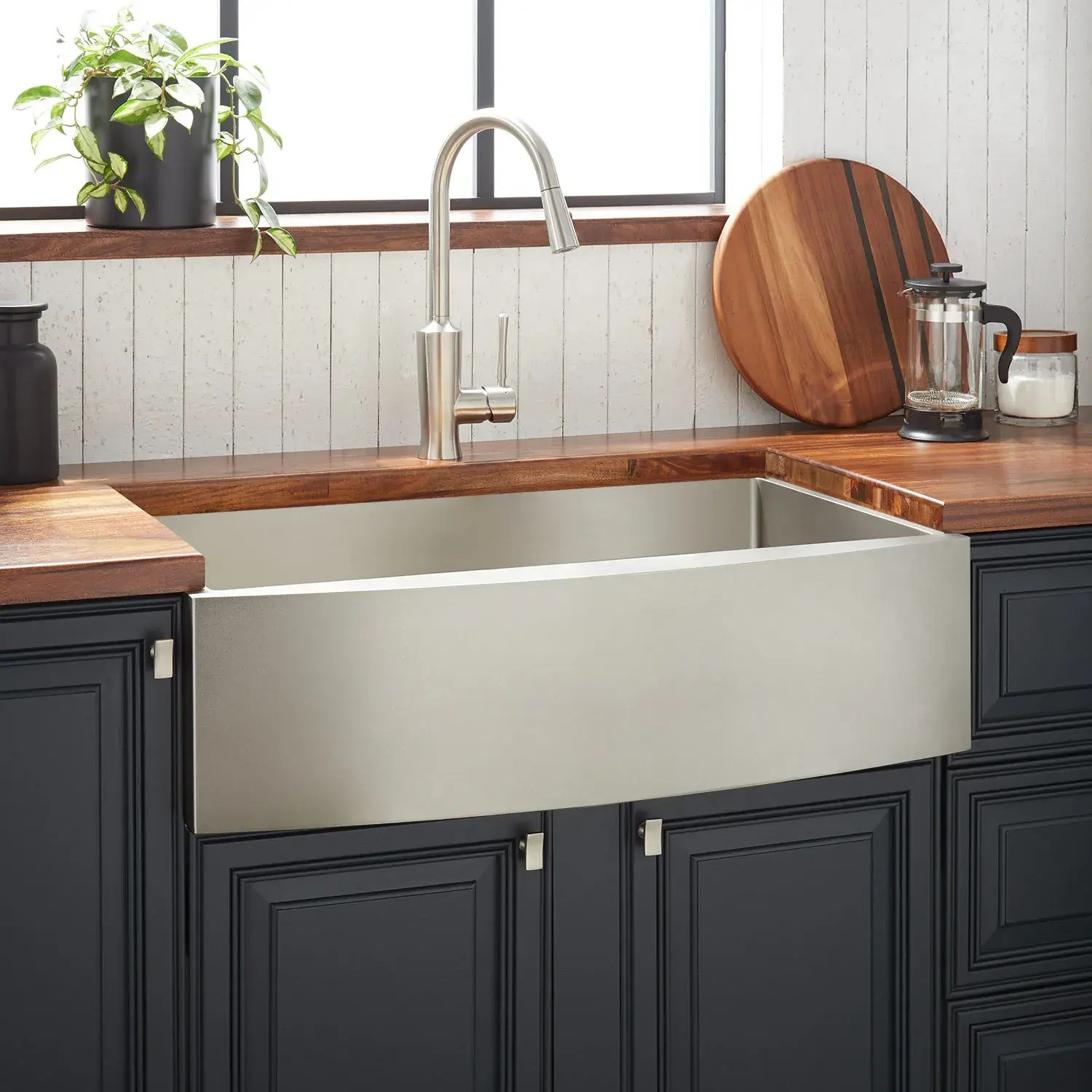 36 atlas stainless steel farmhouse sink curved apron pewter