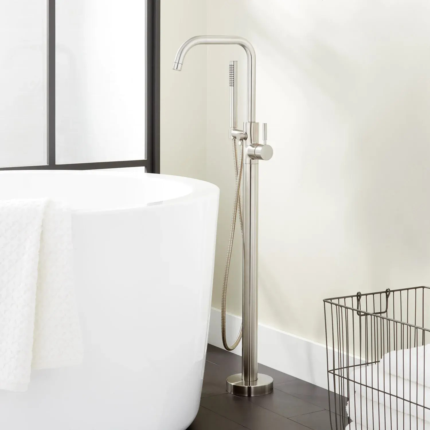 edenton freestanding tub faucet with hand shower with water lines