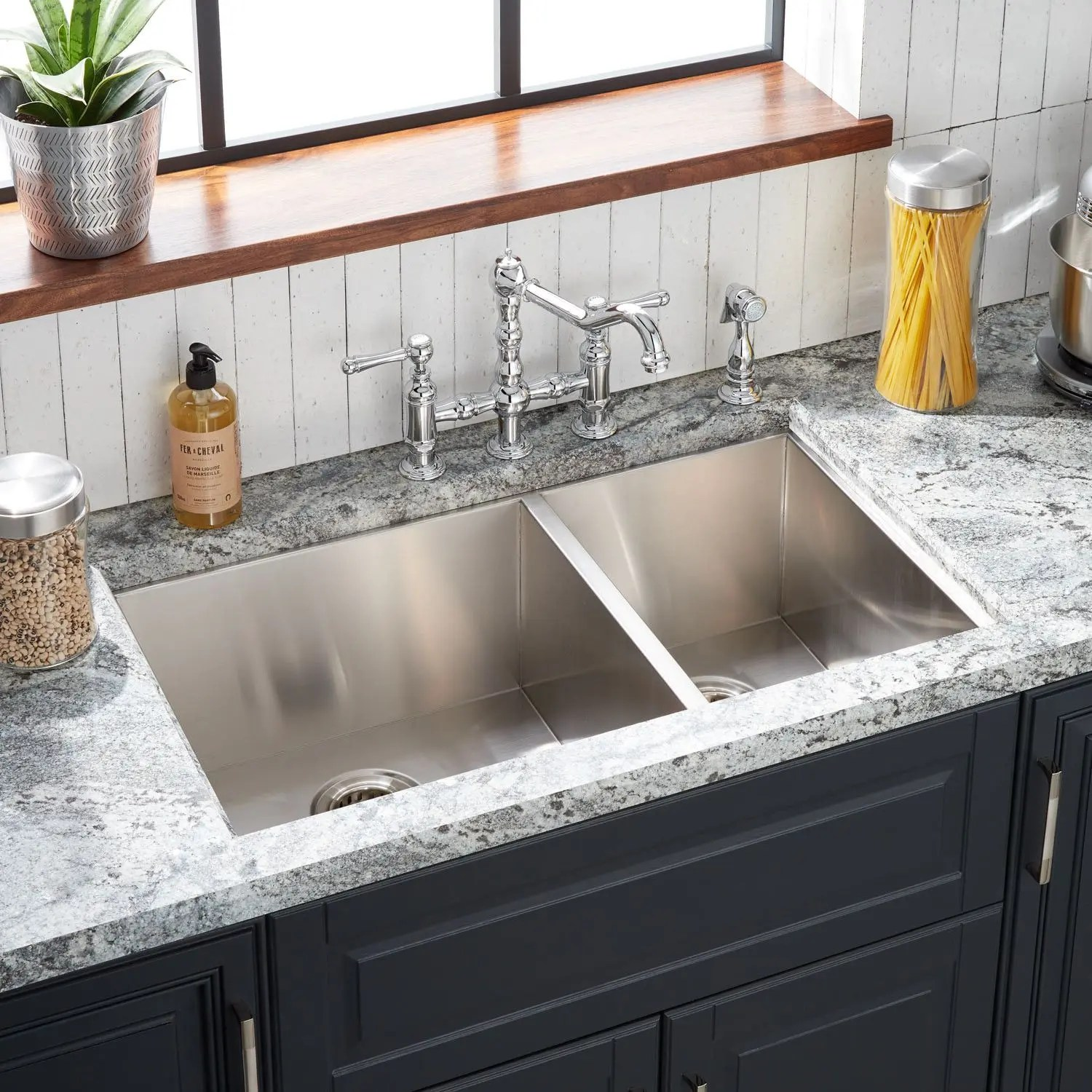 33 sitka offset double bowl stainless steel undermount sink 4 hole