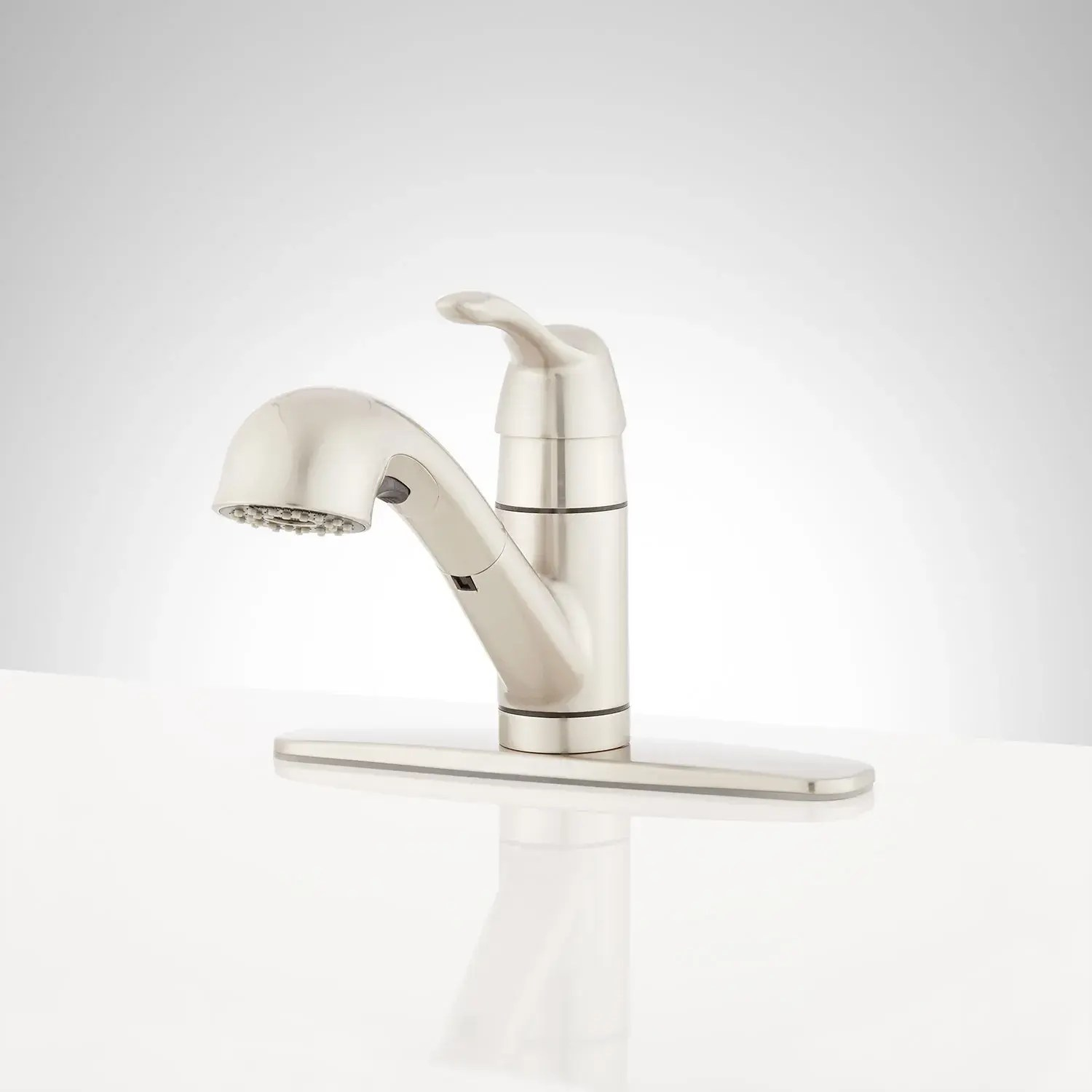 bradenton single hole pull out kitchen faucet with deck plate