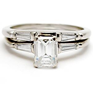 Wedding Rings With Engraved Emerald Cut Diamond Wedding